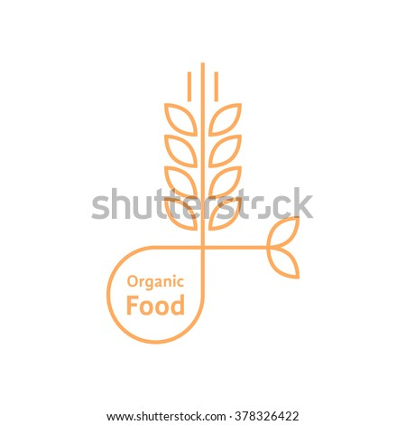orange organic food logo like wheat ears. concept of rice, gluten, bio, herbal badge, brewery, bakery mark. isolated on white background. flat style trend modern brand design vector illustration - stock vector