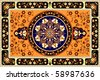Orange oriental vector carpet - stock vector