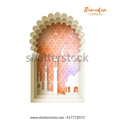 Orange Origami Mosque Window Ramadan Kareem Greeting card with arabic arabesque pattern. Holy month of muslim. Symbol of Islam. Crescent Moon Ramadan. Applique Vector illustration. - stock vector