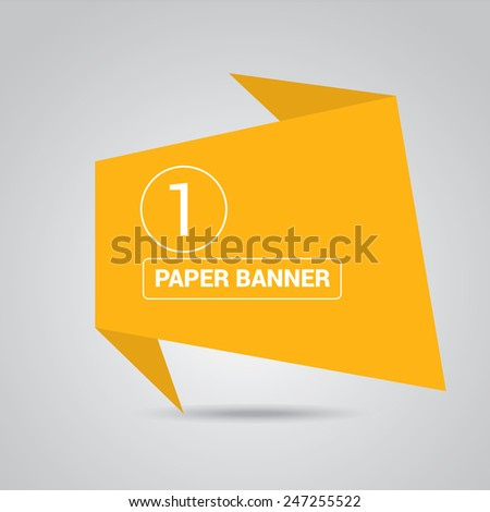 orange origami paper speech bubble or web banner .vector illustration - stock vector