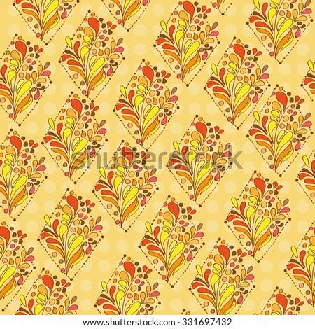 Orange ornament - seamless pattern - doodling style - Vector Illustration - stock vector