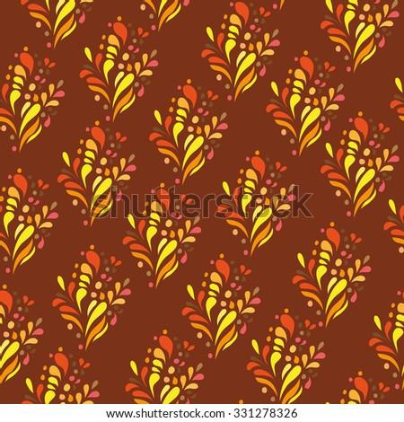 Orange ornament - seamless pattern - dudling style - Vector Illustration - stock vector