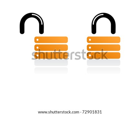 orange padlock - stock vector