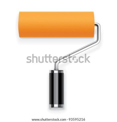 Orange paint roller Icon - stock vector