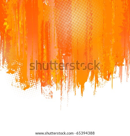 Orange Paint Splashes Background. Vector background with place for your text. Color ink. Artistic Color Graphic.  Hand drawn Backdrop with spatter. Vector Splash Graffiti Texture with Halftone Dots - stock vector