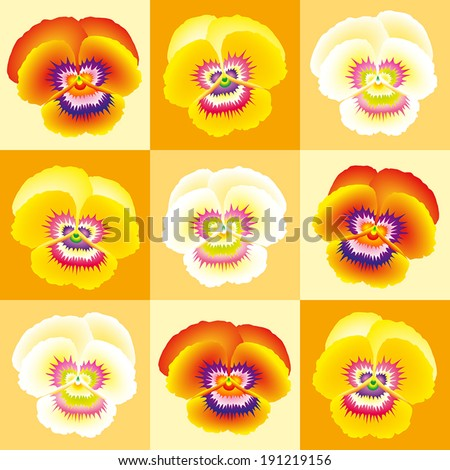 Orange pansy wallpaper - seamless background can be created. - stock vector