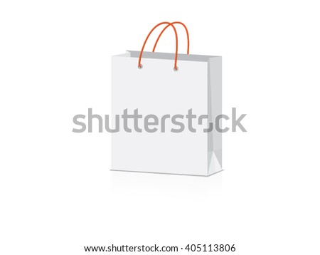 orange paper bag for your design EPS10 Vector Mock up easy to change color