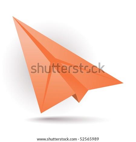 Orange paper plane - stock vector