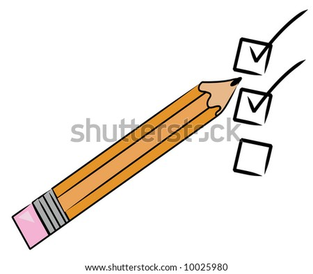 orange pencil checking off tasks on to do list - vector - stock vector