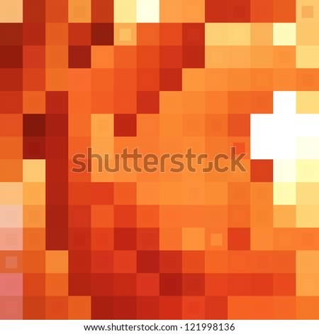 Orange pixels background - stock vector