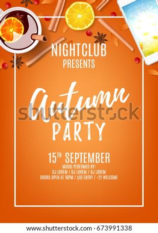 Orange poster autumn party invitation nightclub stock vector orange poster autumn party invitation nightclub stock vector 673991338 shutterstock stopboris Gallery
