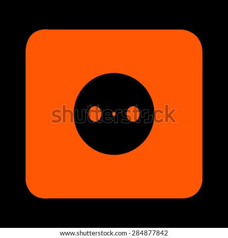 Orange power plug (power outlet, electric outlet) on a black background - stock vector