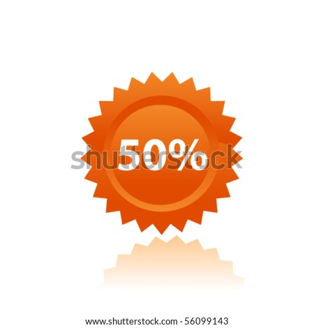 Orange prise tag. Vector - stock vector