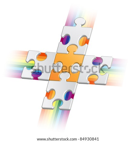 Orange puzzle piece on grey pieces with jets - stock vector