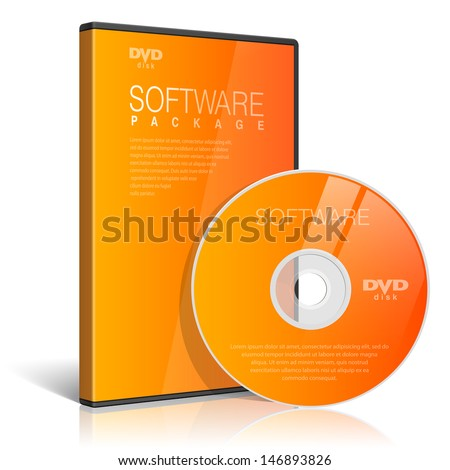 Orange Realistic Case for DVD Or CD Disk with DVD Or CD Disk. Text, reflection and background on separate layers. Vector Illustration - stock vector