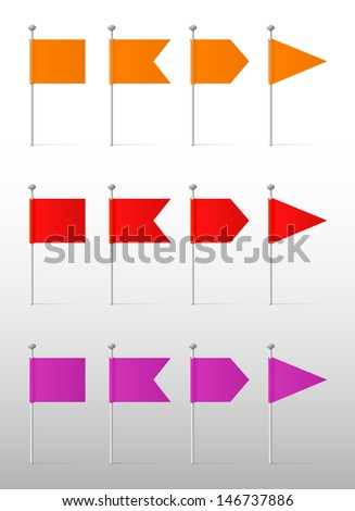 Orange, red and purple flags on the pins, vector labels - stock vector