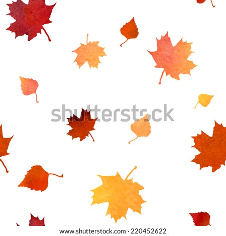 Orange red yellow autumn birck and maple leaves fall vector seam - stock vector