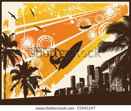 Orange Retro Sunset Surfer Palm City - stock vector