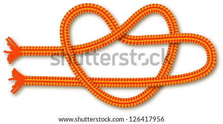 Orange rope in the shape of a heart (knot). Vector background for design. - stock vector