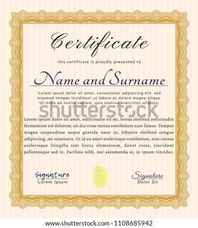 orange sample certificate diploma easy print stock vector 1108685942