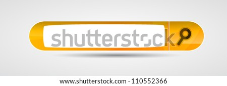 Orange search button for website - stock vector