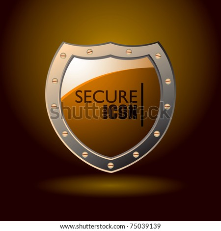 Orange secure web shield with spot light background and metal bevel - stock vector