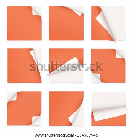 orange set of note paper with curled corner - stock vector
