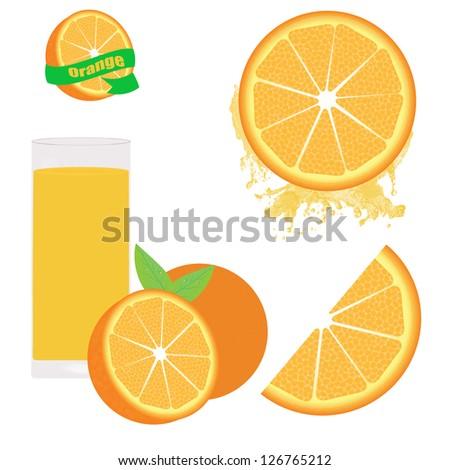 Orange set on white background, vector illustration - stock vector