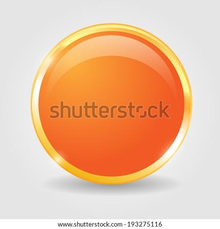 Orange shiny button with metallic elements, vector design for website. - stock vector