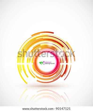 Orange shiny circle - stock vector