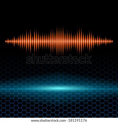 Orange shiny sound waveform with sharp peaks on hex grid - stock vector