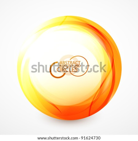 Orange shiny sphere - stock vector