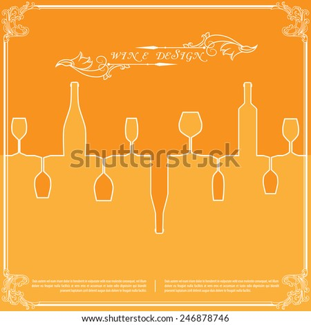 Orange silhouettes of wine attributes background in flat colors. Vector illustration for your business presentation. - stock vector