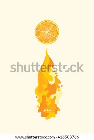 Orange slice with flowing juice. Vector liquid waves and splash. Healthy diet illustration, vegetarian vegan food. Fresh juicy drink, tasty fruit - stock vector