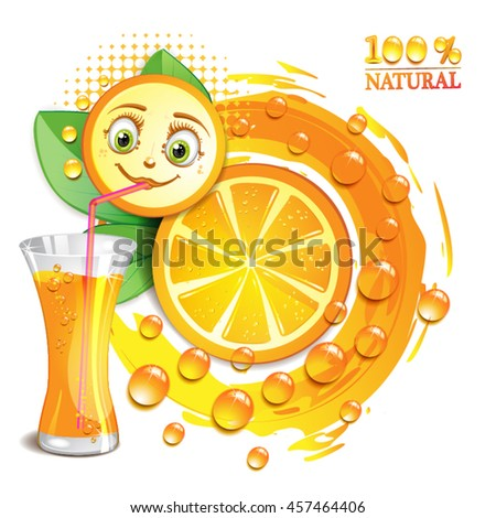 Orange slices with a smiley face - stock vector