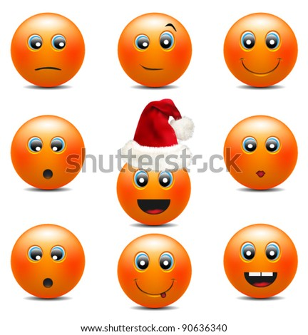 Orange Smiley Faces - stock vector