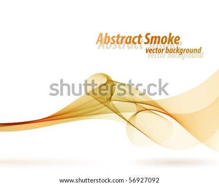 Orange smoky wave vector background with white copy space. - stock vector