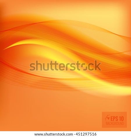 Orange smooth light lines background. Vector illustration, contains transparencies.