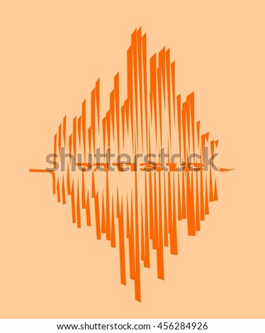 Orange sound range curve with music word within - stock vector