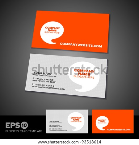 Orange speech bubble business card template with light textured front - stock vector