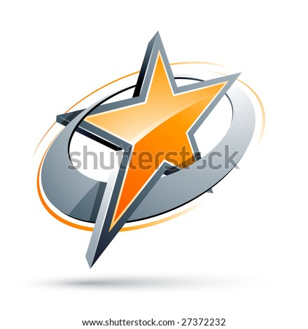 Orange Star In A Chrome Circle - stock vector