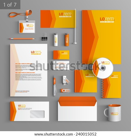 Orange stationery template design with red arrow. Documentation for business. - stock vector