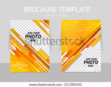 orange straight stripes back and front flyer template design - stock vector