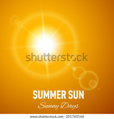 Orange summer background with glaring sun and lens flare - stock vector