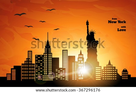 orange sunset in New York, flying birds, vector illustration