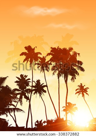 Orange sunset palms silhouettes vector poster background - stock vector
