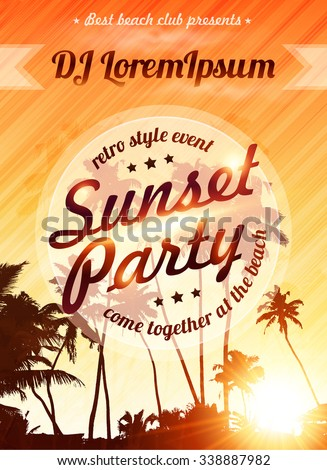 Orange sunset sky with palms silhouettes vector beach party poster template - stock vector