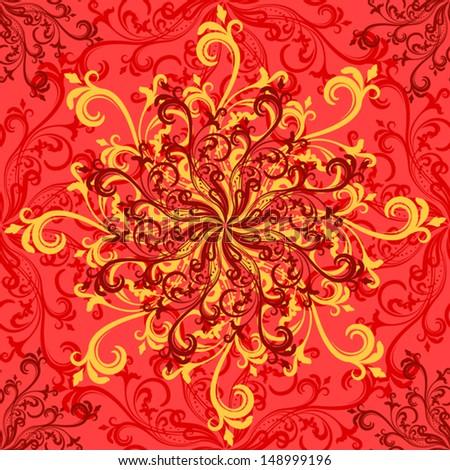 Orange swirly floral rosettes seamless pattern. - stock vector