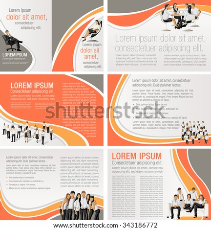 Orange templates for advertising brochures with business people - stock vector