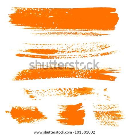 Orange texture dry brush strokes 1 - stock vector